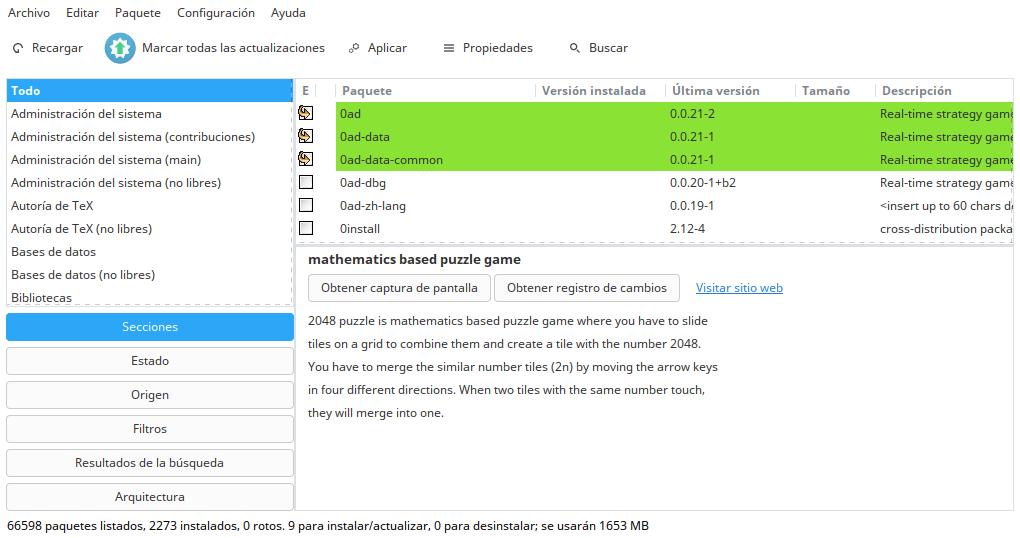 Interfaz de Synaptic para los usuarios en la post-instalación.