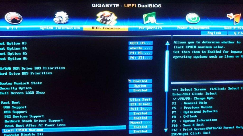 Interfaz de la BIOS de Gigabyte