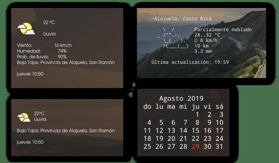 Widgets del tiempo y calendario