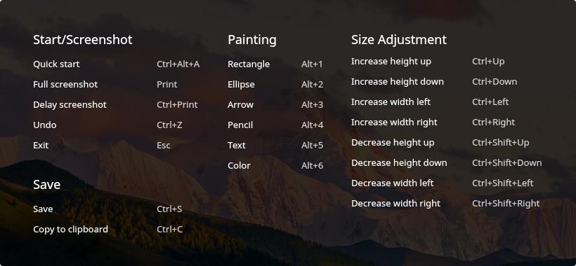 Lista de atajos de teclado