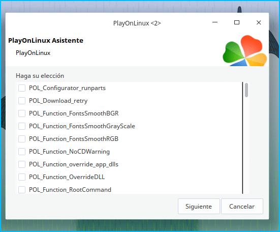 Librerías durante el asistente de PlayonLinux