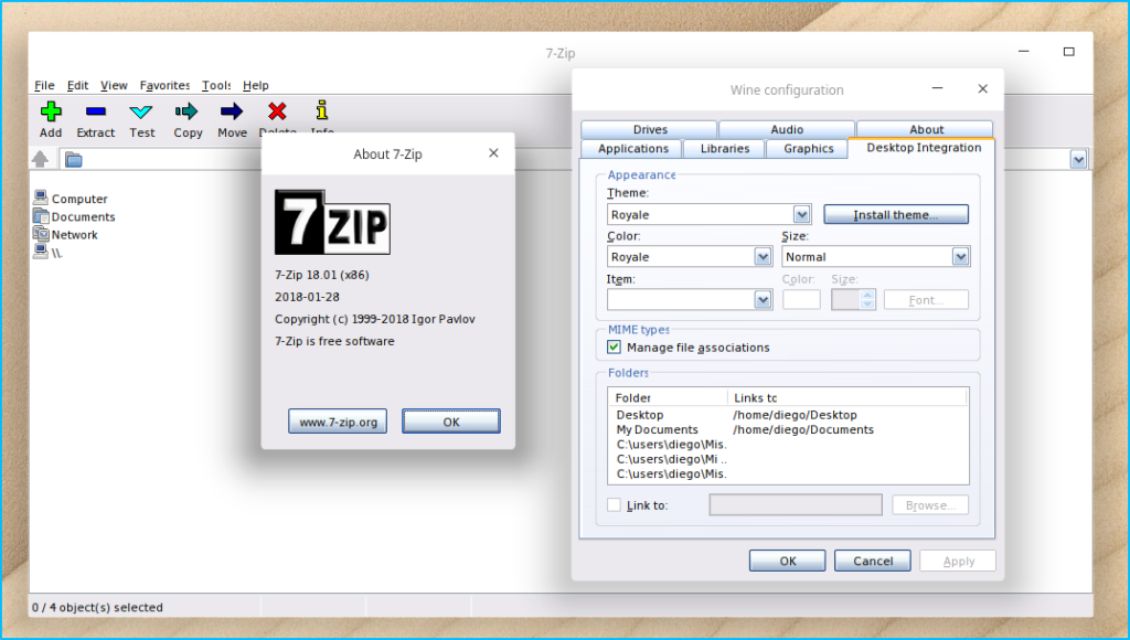 Tema Royale (XP) en 7-Zip.