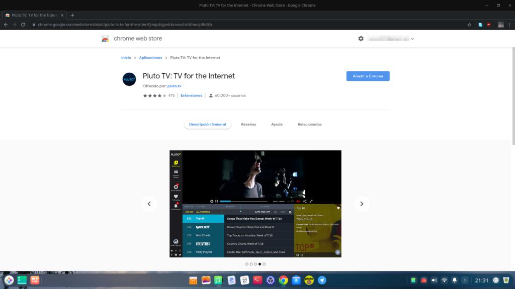 Pluto TV - Extensión para Google Chrome
