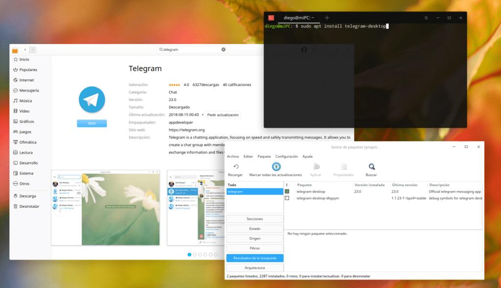 Instalar Telegram en Synaptic, APT y Store.