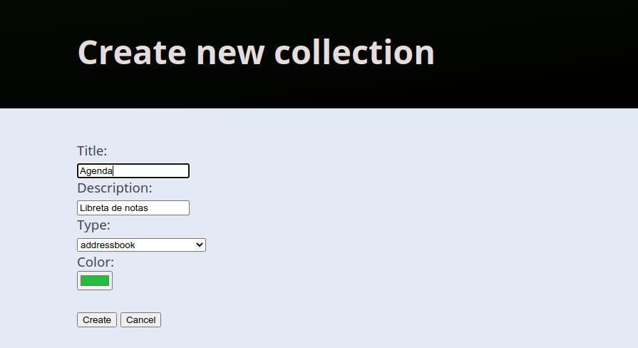Crear nueva colección en el servidor DAV Radicale