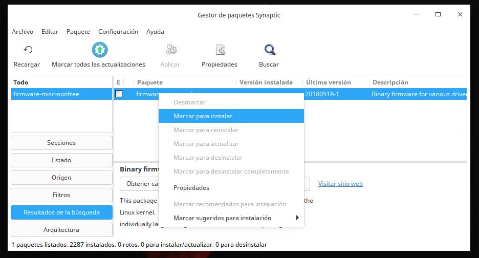 Instalar controladores wifi en Synaptic